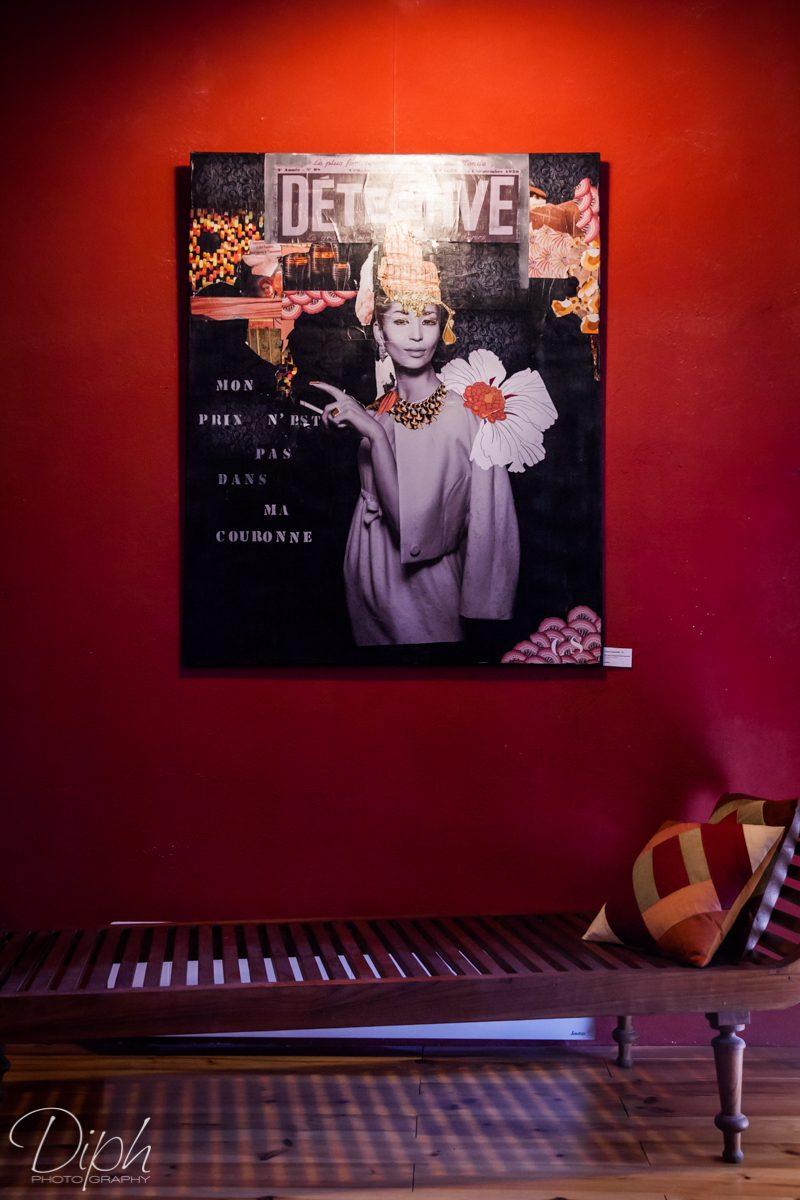 """Céline Sassatelli CS """"Mon prix n'est pas dans ma couronne"""" Collages et acrylique 120x160"""